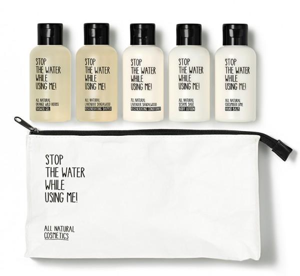 Stop the water Travel Kit, Shower Gel, Shampoo, Conditioner, Bodylotion & Handbalsam