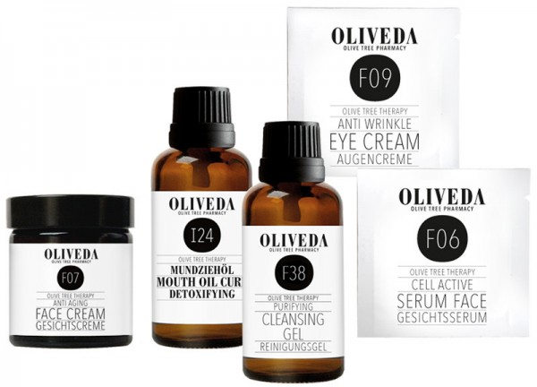 Oliveda Pflege Kennenlernset - Mundziehöl, Reinigungsgel, Gesichtscreme, Serum Face & Augencreme