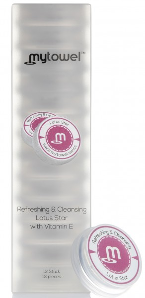 mytowel - Refreshing & Cleansing Tuch LOTUS STAR mit Vitamin E in 12er Box