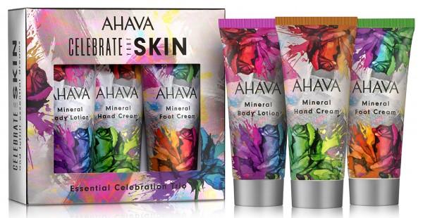Ahava Celebration your Skin - Essential Body Trio Set - Mineral Body Lotion, Hand Cream, Foot Cream