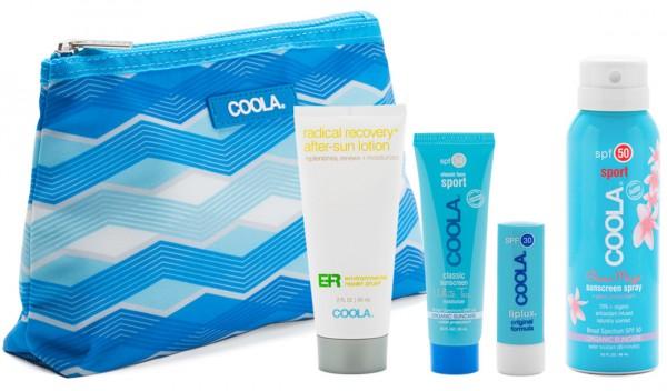 Coola® Organic SPORT TRAVEL KIT - Sport Spray, Liplux, Classic Face White Tea & ER After Sun Lotion