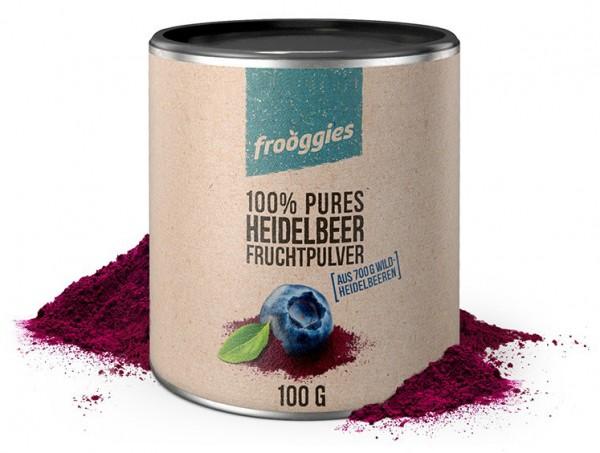 Frooggies Fruchtpulver WILDHEIDELBEERE - Fruchtpulver aus 700g frischen Heidelbeeren - 100% Natur!