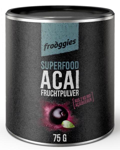 Frooggies Fruchtpulver BIO AÇAI - Fruchtpulver aus 2 kg frischen Açaibeeren - 100% natürlich!