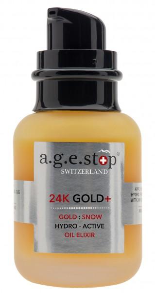 a.g.e.stop 24K GOLD HYDRO ACTIVE OIL ELIXIER - Luxuriöses Gesichtsöl mit 24-karätigem Gold