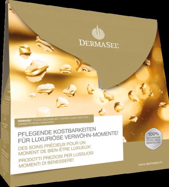 DermaSel® Totes Meer Geschenkbox GOLD - Badesalz, Duschgel, Gesichtsmaske, Handcreme-